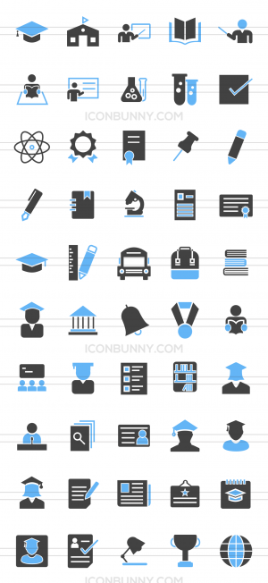 50 Academics Blue & Black Icons - Preview - IconBunny