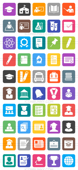 50 Academics Flat Round Corner Icons - Preview - IconBunny
