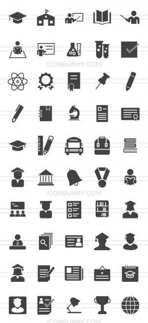 50 Academics Glyph Icons - Preview - IconBunny