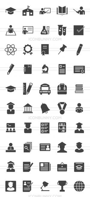 50 Academics Glyph Icons - Preview - IconBunny