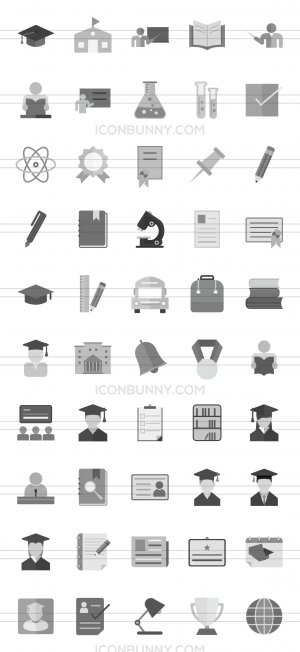 50 Academics Greyscale Icons - Preview - IconBunny