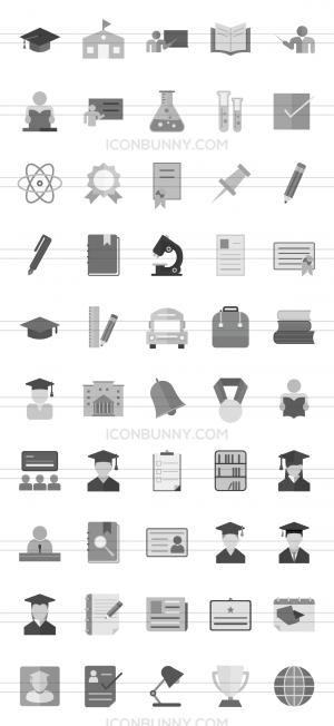 50 Academics Greyscale Icons - Preview - IconBunny