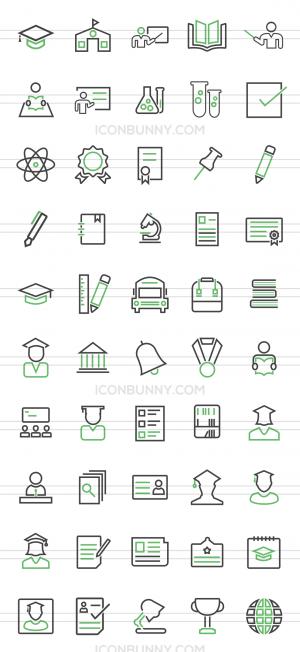 50 Academics Line Green & Black Icons - Preview - IconBunny