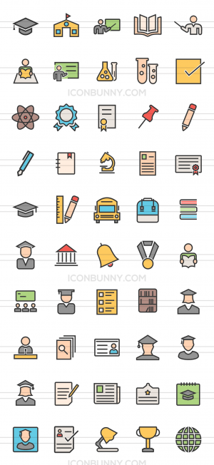 50 Academics Line Multicolor Filled Icons - Preview - IconBunny
