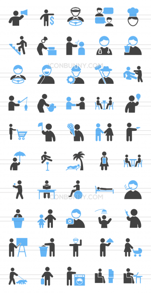 50 Activities Blue & Black Icons - Preview - IconBunny