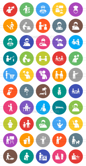 50 Activities Flat Round Icons - Preview - IconBunny