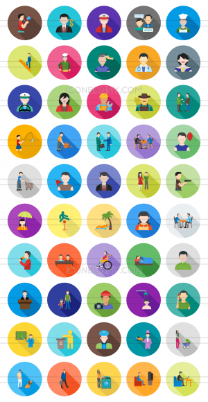 50 Activities Flat Shadowed Icons - Preview - IconBunny
