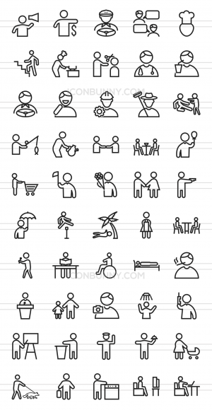 50 Activities Line Icons - Preview - IconBunny