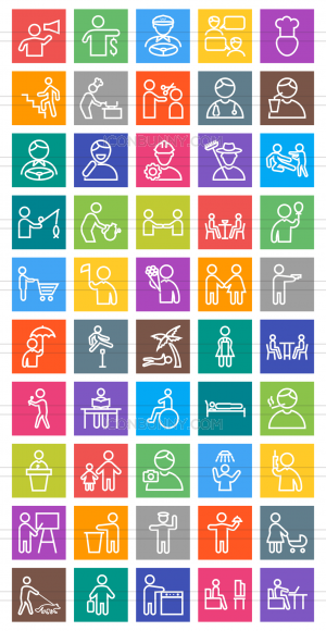 50 Activities Line Multicolor B/G Icons - Preview - IconBunny