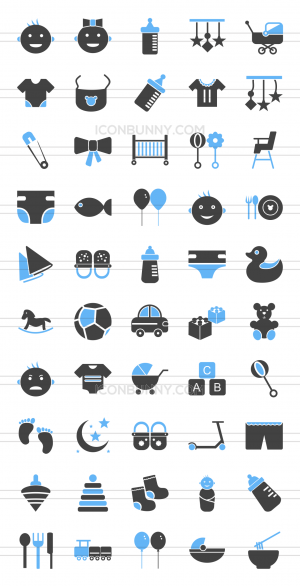 50 Baby Blue Black Icons - Preview - IconBunny