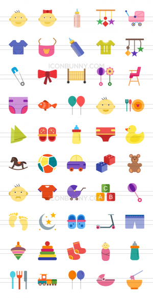 50 Baby Flat Multicolor Icons - Preview - IconBunny
