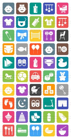 50 Baby Flat Round Corner Icons - Preview - IconBunny