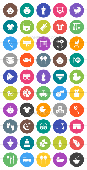 50 Baby Flat Round Icons - Preview - IconBunny