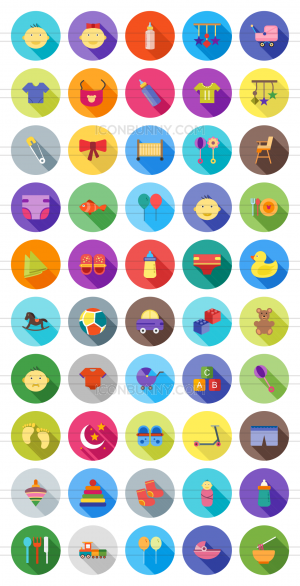 50 Baby Flat Shadowed Icons - Preview - IconBunny