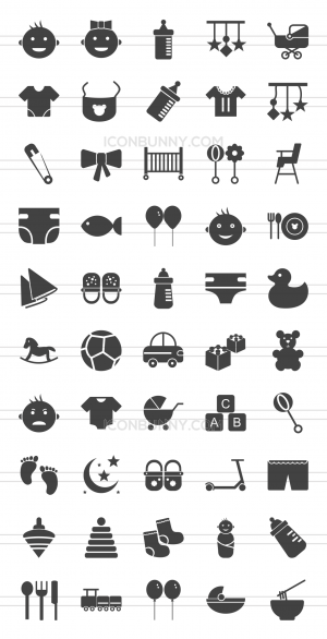 50 Baby Glyph Icons - Preview - IconBunny