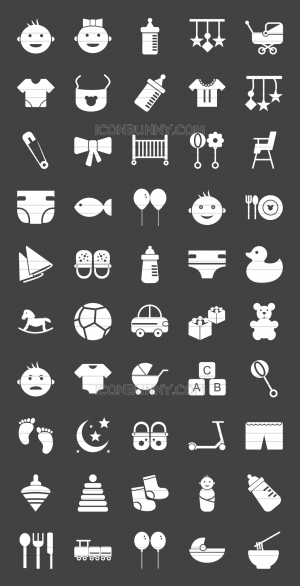 50 Baby Glyph Inverted Icons - Preview - IconBunny