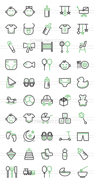 50 Baby Line Green Black Icons - Preview - IconBunny