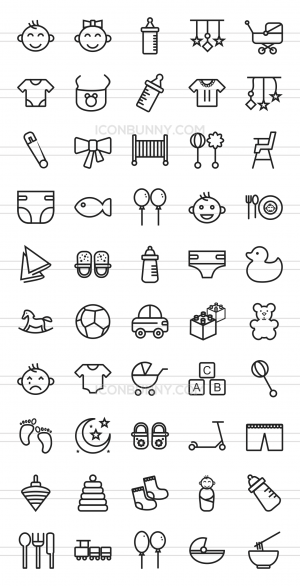 50 Baby Line Icons - Preview - IconBunny