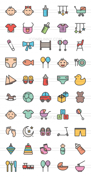 50 Baby Line Multicolor Filled Icons - Preview - IconBunny