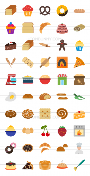 50 Bakery Flat Multicolor Icons - Preview - IconBunny