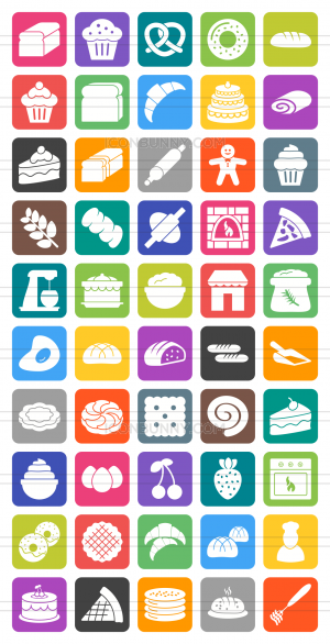 50 Bakery Flat Round Corner Icons - Preview - IconBunny