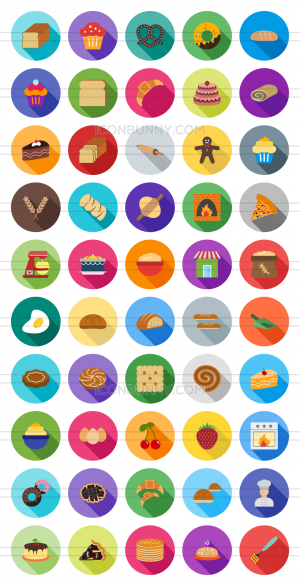 50 Bakery Flat Shadowed Icons - Preview - IconBunny