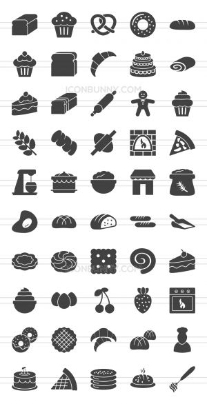 50 Bakery Glyph Icons - Preview - IconBunny