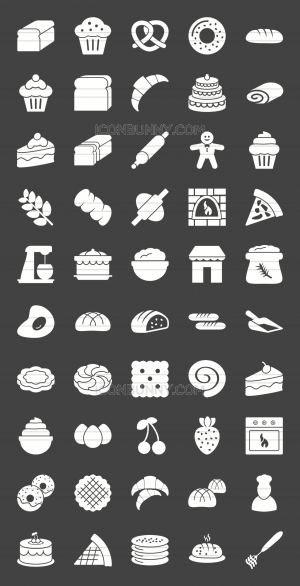 50 Bakery Glyph Inverted Icons - Preview - IconBunny