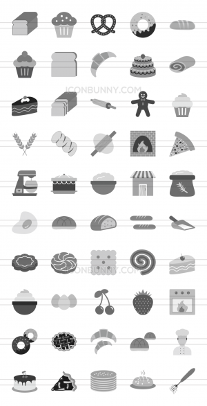 50 Bakery Greyscale Icons - Preview - IconBunny