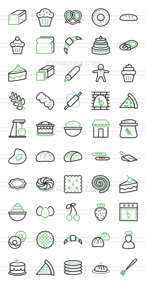 50 Bakery Line Green Black Icons - Preview - IconBunny