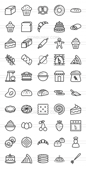 50 Bakery Line Icons - Preview - IconBunny