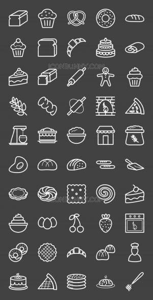 50 Bakery Line Inverted Icons - Preview - IconBunny
