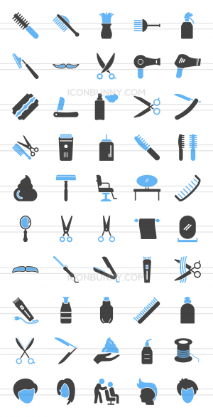 50 Barber's Tools Blue Black Icons - Preview - IconBunny