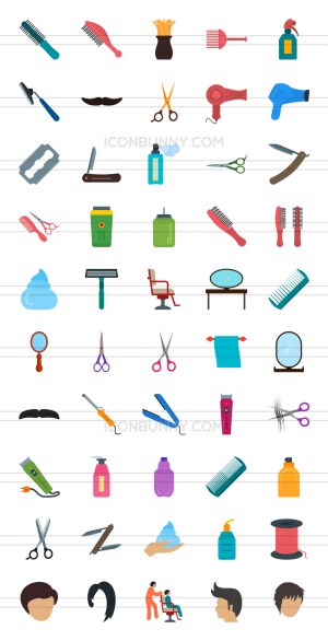 50 Barber's Tools Flat Multicolor Icons - Preview - IconBunny