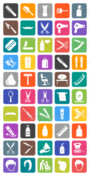 50 Barber's Tools Flat Round Corner Icons - Preview - IconBunny