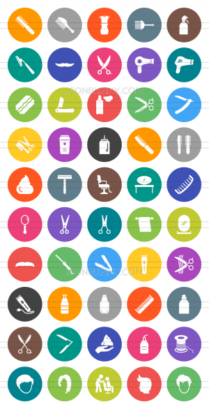 50 Barber's Tools Flat Round Icons - Preview - IconBunny