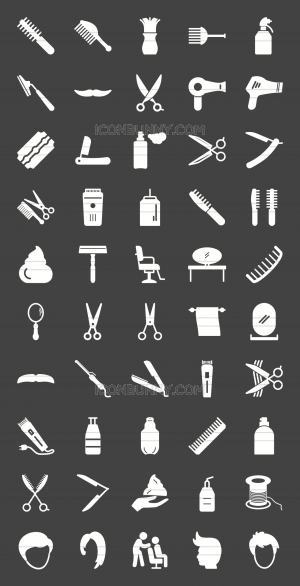 50 Barber's Tools Glyph Inverted Icons - Preview - IconBunny