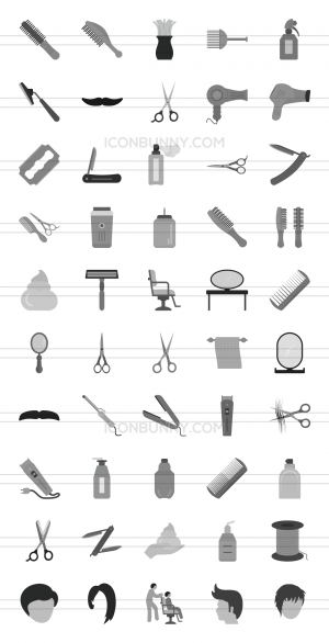 50 Barber's Tools Greyscale Icons - Preview - IconBunny