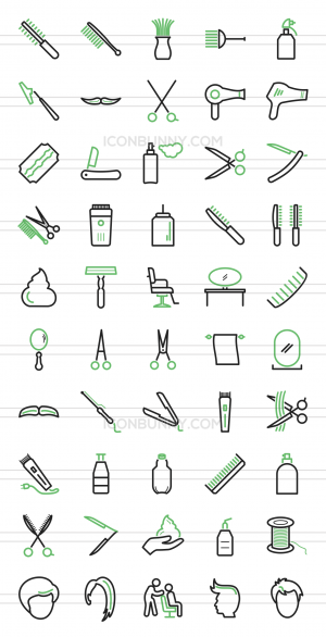 50 Barber's Tools Line Green Black Icons - Preview - IconBunny