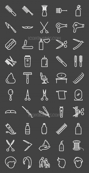50 Barber's Tools Line Inverted Icons - Preview - IconBunny