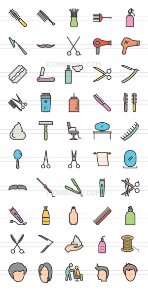50 Barber's Tools Line Multicolor Filled Icons - Preview - IconBunny