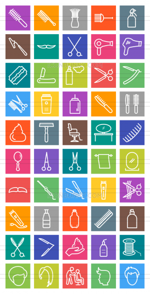 50 Barber's Tools Line Multicolor B/G Icons - Preview - IconBunny