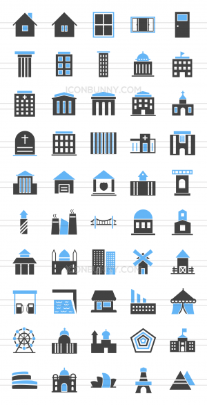 50 Buildings & Landmarks Blue & Black Icons - Preview - IconBunny