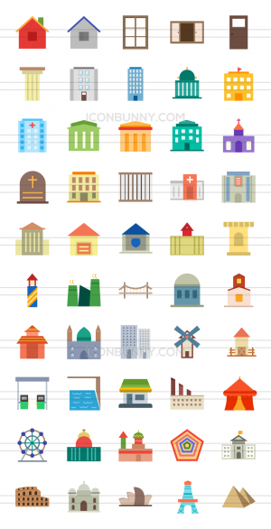 50 Buildings & Landmarks Flat Multicolor Icons - Preview - IconBunny