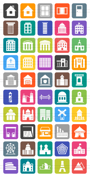 50 Buildings & Landmarks Flat Round Corner Icons - Preview - IconBunny