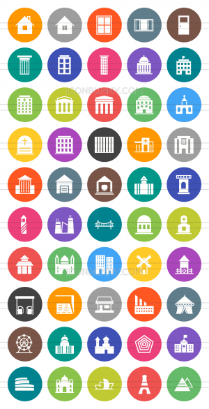 50 Buildings & Landmarks Flat Round Icons - Preview - IconBunny