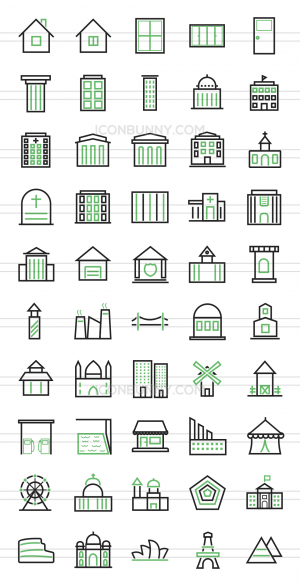 50 Buildings & Landmarks Line Green & Black Icons - Preview - IconBunny