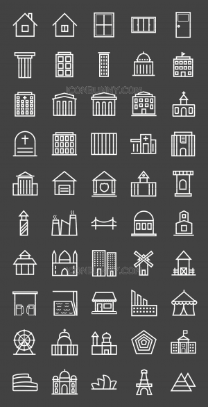 50 Buildings & Landmarks Line Inverted Icons - Preview - IconBunny