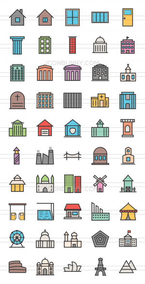 50 Buildings & Landmarks Line Multicolor Filled Icons - Preview - IconBunny