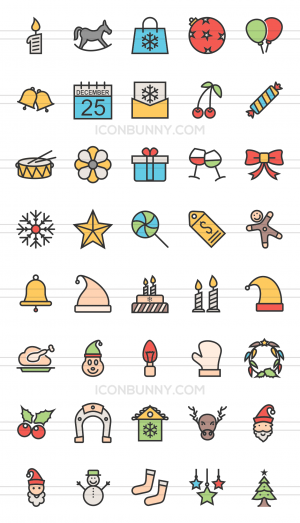 40 Christmas Line Multicolor Filled Icons - Preview - IconBunny